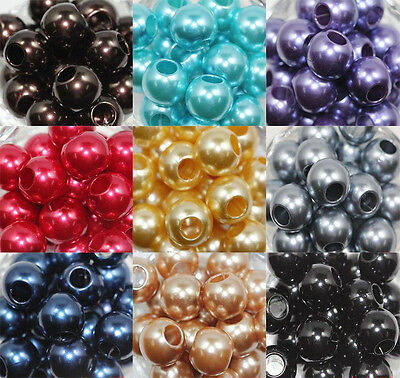 Lots 20Pcs Acrylic Big Hole Loose Charms Spacer Beads Crafts Jewelry Making 16mm