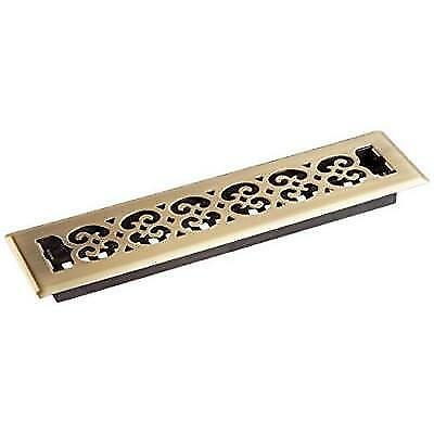 Decor Grates SPH214-A 2-Inch by 14-Inch Scroll Floor Register, Antique Brass New