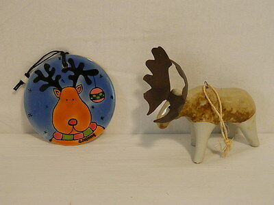 Set Of 2 Moose Christmas Ornaments Beautiful & Brand New Blue Figural Ceramic