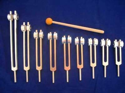 9 Pc Set Sacred Solfeggio Tuning forks/Tuners Weighted+Mallet for Sound Therapy