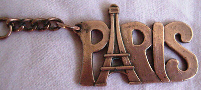 """Vintage Paris Copper Key Chain  Eiffel Tower Amid Letters from France 1 3/4"""""""