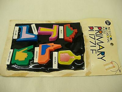Vtg 1960's Lido Primary Puzzle--Match Plastic Pieces to Shape in Tray