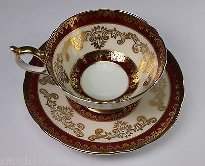 Aynsley China Hand Painted Red and Gold Cup and Saucer 970