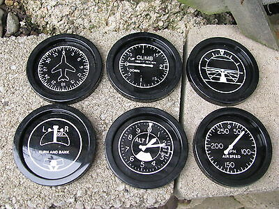 AIRPLANE INSTRUMENT SET 6 COASTERS BLACK PLASTIC MADE IN USA PILOT BARWARE