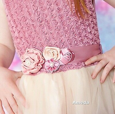 Girls Dusty Pink Beige Satin Rosettes Flower Sash