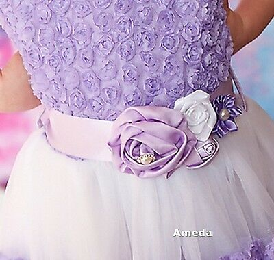 Girls Lavender White Satin Rosettes Flower Sash