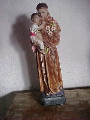 VINTAGE  ST ANTHONY  PAINTED STATUE HOLDING  BABY JESUS & LILIES  17.5 INCH