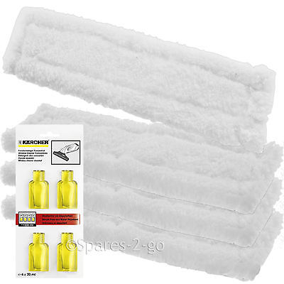 4 x KARCHER WV65 Window Vac Vacuum Cloths Covers Glass Pads + Cleaning Capsules