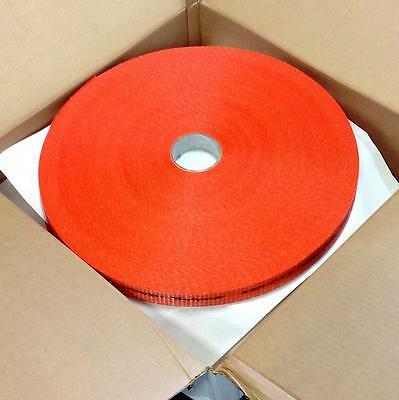 """Texband 1-1/2"""" 480' Woven Orange Polyester Cord Strapping 05-08-0050, 4 Coils"""