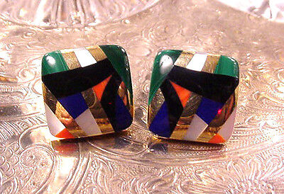 Asch Grossbardt 14K Yellow Gold Multi Color Inlay Omega Back Earrings