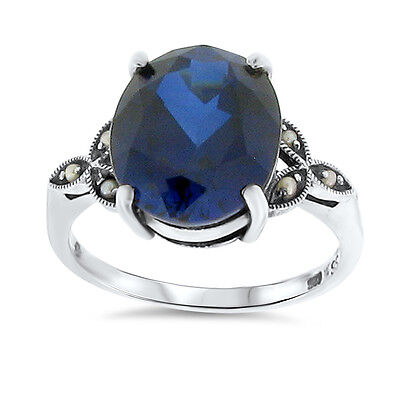 6 Ct. Blue Lab Sapphire Antique Victorian Design .925 Sterling Silver Ring,  #38