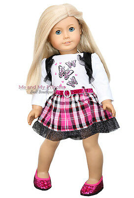 "BUTTERFLY HEART PLAID DRESS + SHOES - clothes fits 18"" American Girl Doll Only"