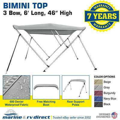 "Bimini Top Boat Cover 46"" High 3 Bow 6' ft. L x 73"" - 78"" W GRAY  W/ Rear Poles"