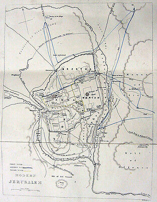 1847 Engraving MAP PLAN JERUSALEM OLD CITY DOME ROCK WAILING WALL MOSQUE CHURCH