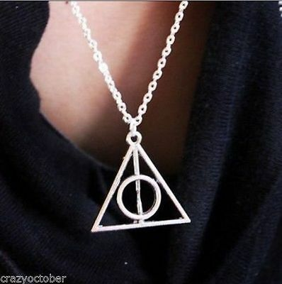 Hot Sale,Antique Silver Harry Potter The Deathly Hallows Necklace Pendant New069