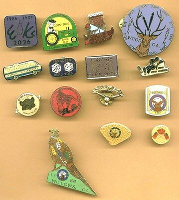LOT OF 15 ELKS LODGE ENAMEL PINS LOT *Fraternal *California and others