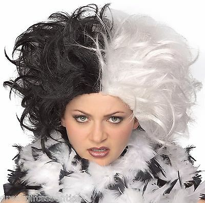 Cruella de Vil Costume WIG Black & White Ms. Spot Hair Adult Deville Dalmations