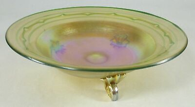 Tiffany Favrile Bowl Iridescent Gold with 3 Scrolled Reeded feet  Signed L.C.T.
