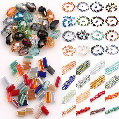 New Faceted Glass Crystal Charms Findings Rectangle&Teardrop Spacer Loose Beads