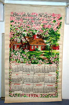 Vintage Linen Decorative Wall Calendar 1974 - Bless This House Oh Lord We Pray