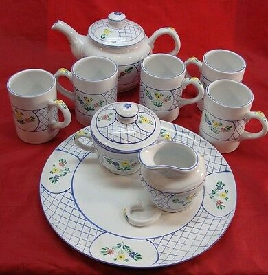 HEREND VILLAGE POTTERY HAND PAINTED HUNGARY PRESENT TENSE TEAPOT SET & PLATTER