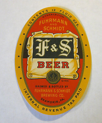 (VINTAGE) F&S BEER 12OZ BOTTLE LABEL SHAMOKIN PA IRTP