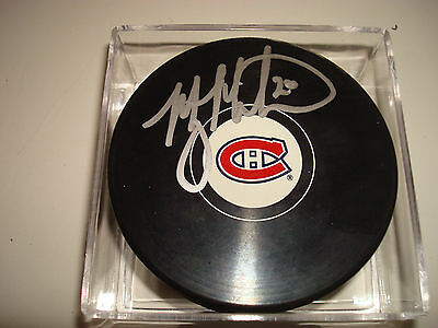 Manny Malhotra Signed Montreal Canadiens Hockey Puck Autographed 1A