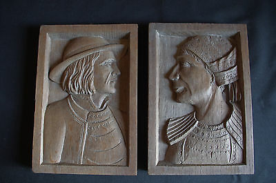 French art deco folk art wood hand carved panel bas-relief 1930's quimper