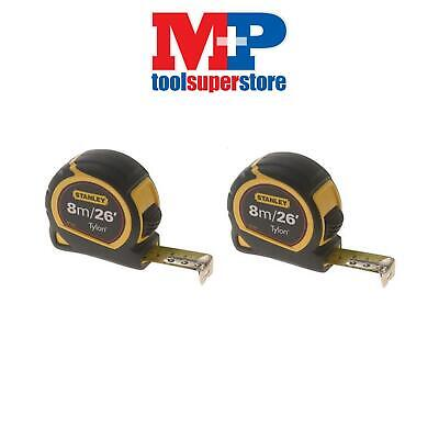Stanley 130656 Pocket Tylon Tape Measure 8M 8 Metre 26Ft **pack Of 2**