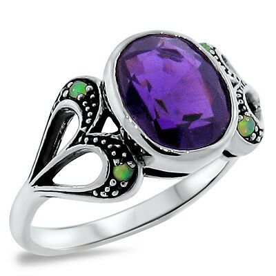 Heart Lab Amethyst & Opal Antique Victorian Style 925 Sterling Silver Ring, #273