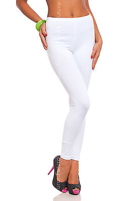 Full Length White Premium Cotton Leggings Comfortable Stretchy Pants Sizes 8-22