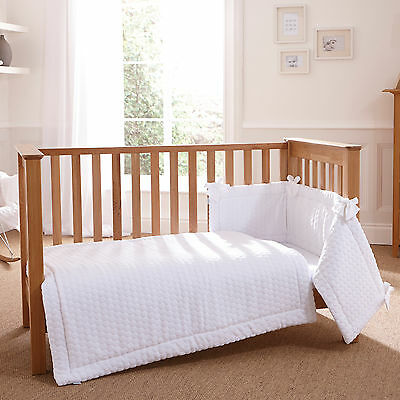 New Clair De Lune Marshmallow White Cot / Cot Bed 3 Piece Bedding Bale Gift Set
