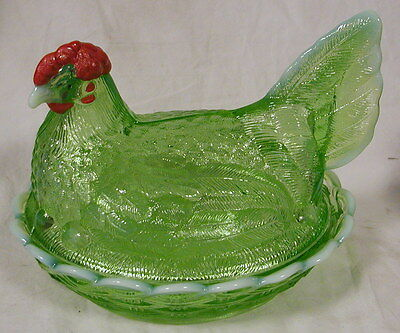 Green Opalescent Handpainted Glass Covered Chicken Dish - LG Wright mould