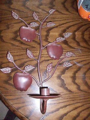 Metal Red Apple Sconce Candlestick Candle Stick Holder Wall Mountable Country