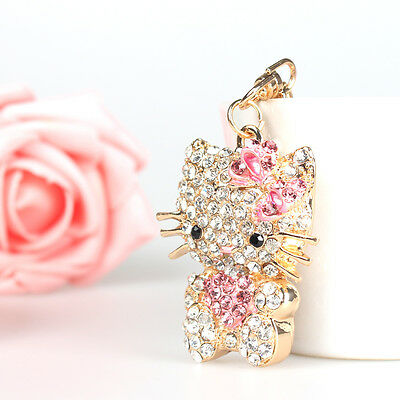 Pink Sweat Heart Butterfly Cat Charm Crystal Purse Bag Key Chain Accessories Gif