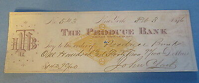 Old 1876 - PRODUCE BANK - New York - BANK CHECK - Revenue Stamp