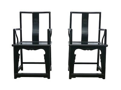 Pair Chinese Dark Brown Elm Wood Officer Armchairs cs771