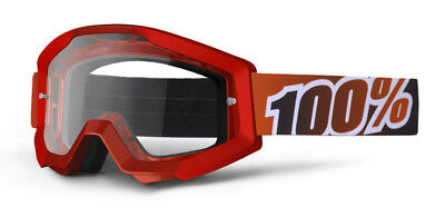 100%   Strata   Moto  Mx Goggles   Fire Red  Clear Lens  50400-003-02