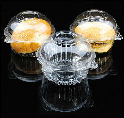 Plastic Clear Single Cupcake Case Muffin Pod Dome Holder Cup Cake Boxes CH