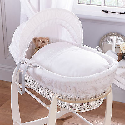 Clair De Lune White Vintage Padded White Wicker Baby Moses Basket & Mattress