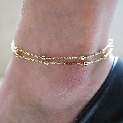 Women Gold Double Chain Anklet Bracelet Foot Jewelry Barefoot Beach Anklet Gift