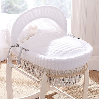 New Clair De Lune Marshmallow White Padded White Wicker Moses Basket & Mattress
