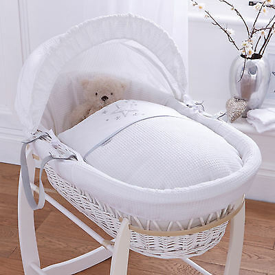 New Clair De Lune Stardust White Padded White Wicker Moses Basket & Mattress