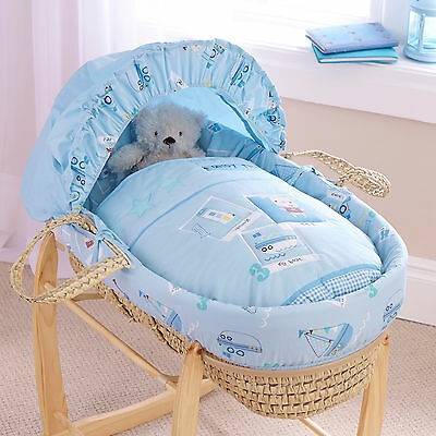 New Clair De Lune Ahoy Blue Padded Palm Baby Boys Moses Basket & Mattress