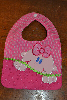 Baby Girl Peek a Boo Appliqued Bib in Pink