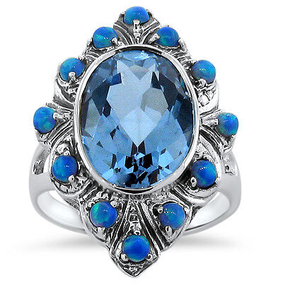 5 Ct. Sim Aquamarine & Blue Opal Antique Design .925 Sterling Silver Ring,  #242