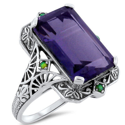 6 Ct. Lab Amethyst Opal Antique Victorian Design .925 Sterling Silver Ring, #301