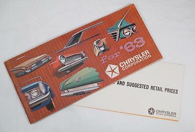 1963 CHRYSLER Dodge Plymouth Sales Brochure & Price List Entire Car Product Line