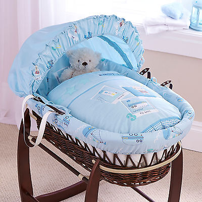 New Clair De Lune Ahoy Blue Padded Dark Wicker Baby Moses Basket & Mattress