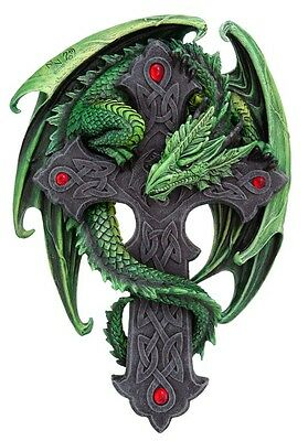 Anne Stokes Woodland Green Dragon Celtic Cross Crucifix Wall Plaque Decorative